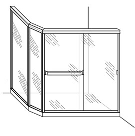 Shower Enclosure with Angled and Return Panel