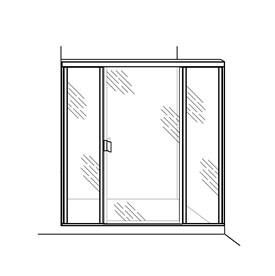 Swing Door with Two Inline Panels