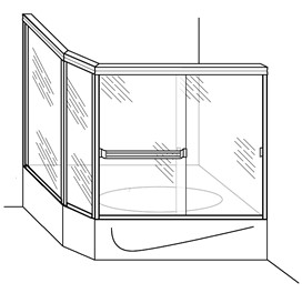Tub Enclosure with Angled and Return Panel